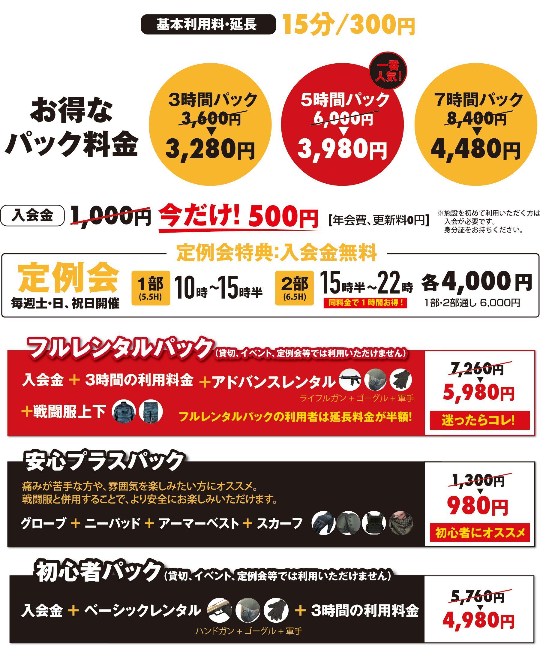 埼玉でサバイバルゲームをするならBrave Point 埼玉上福岡店   料金案内